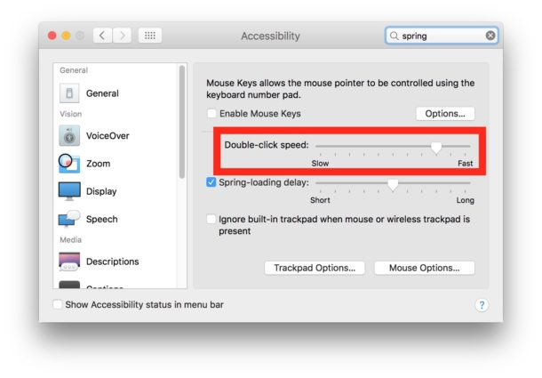 Adjusting click speed for double click on Mac OS Settings