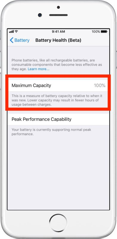Check maximum battery capacity on iPhone