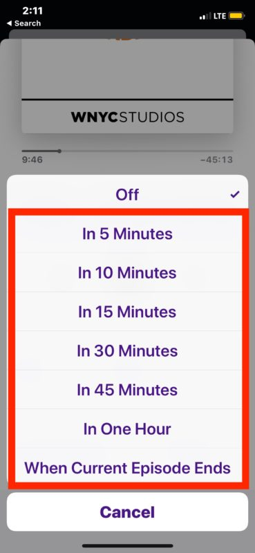 How to set a Podcasts sleep timer on iPhone