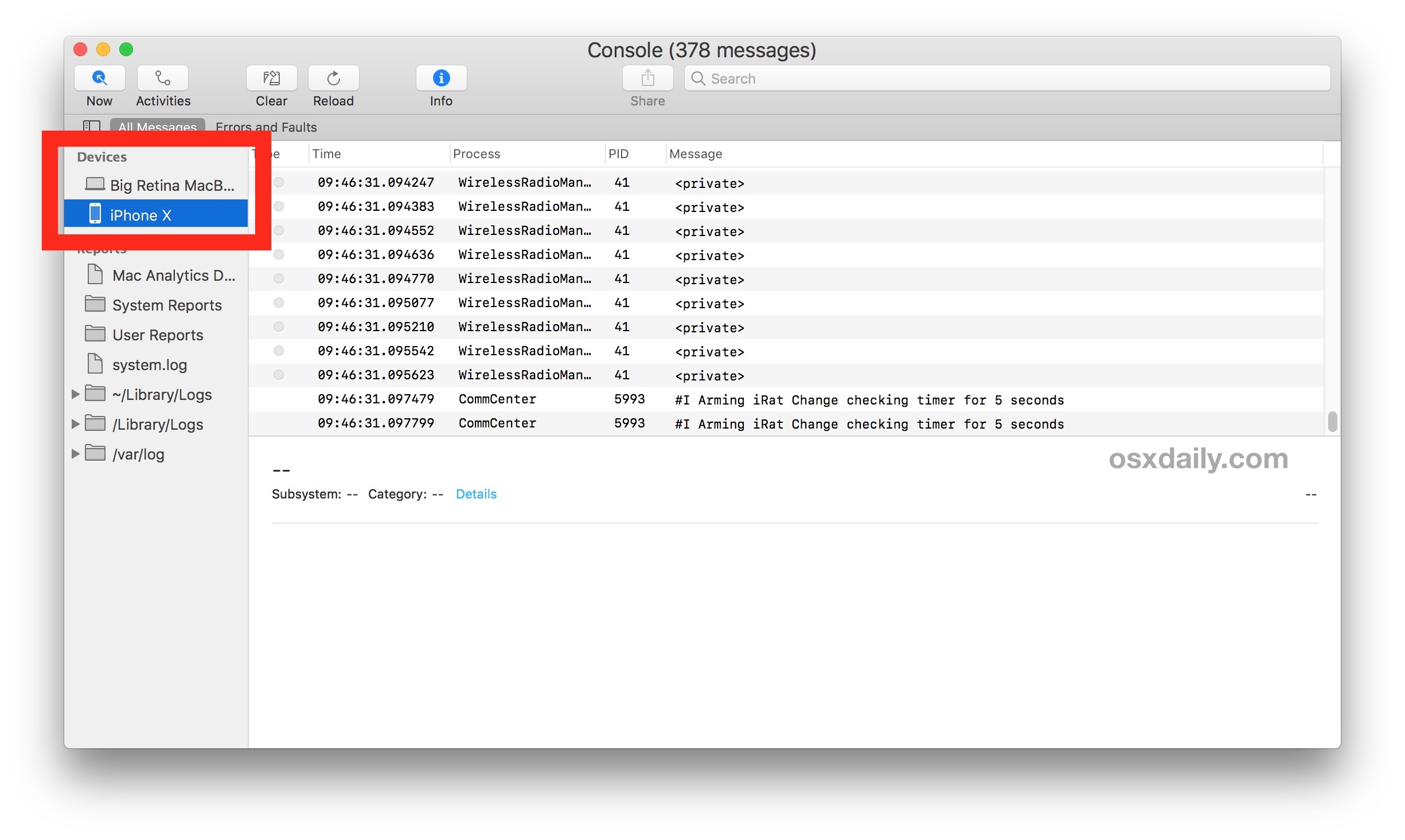 Viewing logs of iOS devices