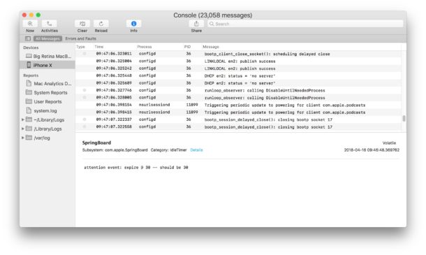 How to access iPhone and iPad logs on a Mac