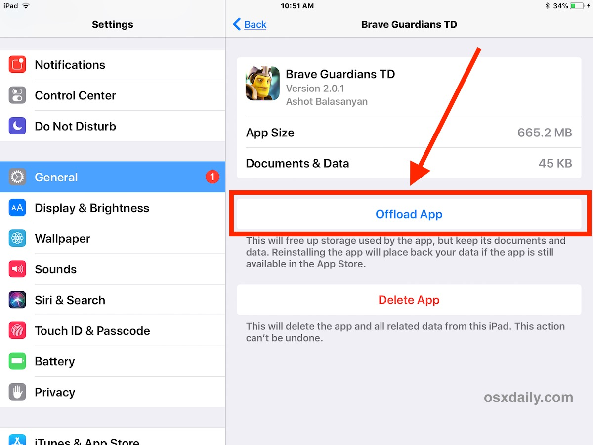 How to offload apps on iOS