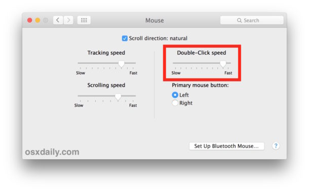 Adjust the mouse Double Click speed setting in Mac OS