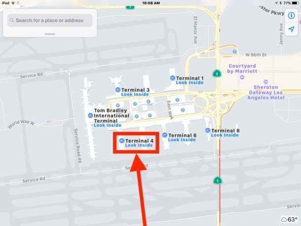 Tap on Look Inside airport to navigate airport in Apple Maps