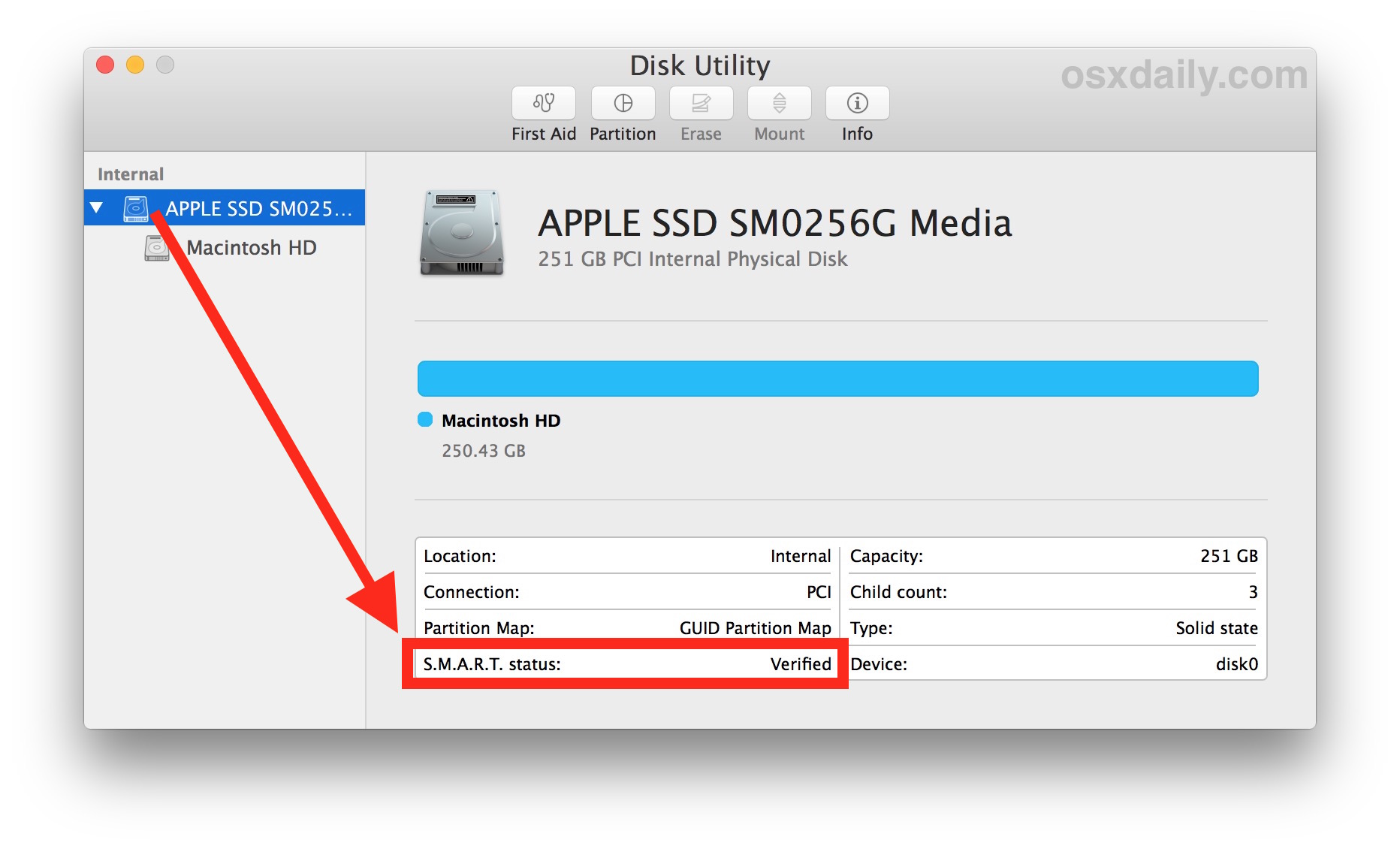 Check SMART Status of Mac Hard Drive