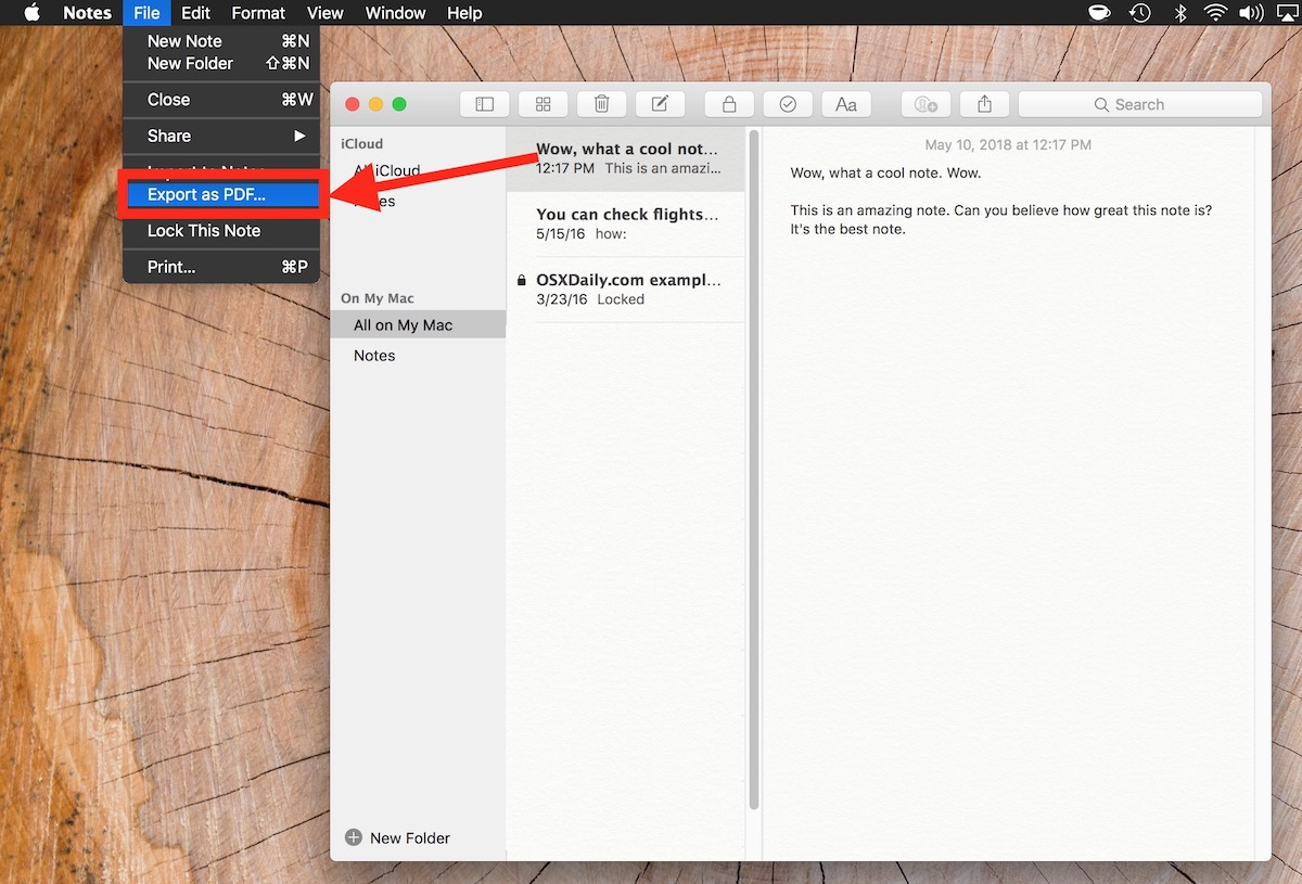 How to export notes as PDF on Mac