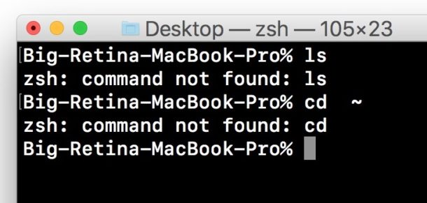 command not found Mac error terminal