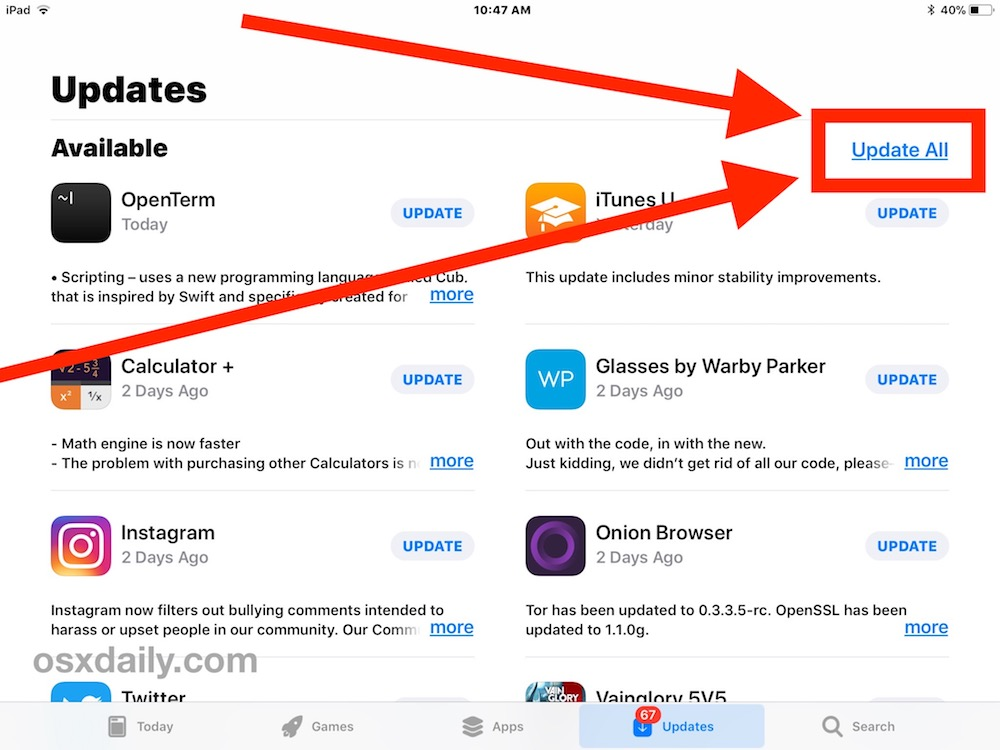 How to update all apps on iOS