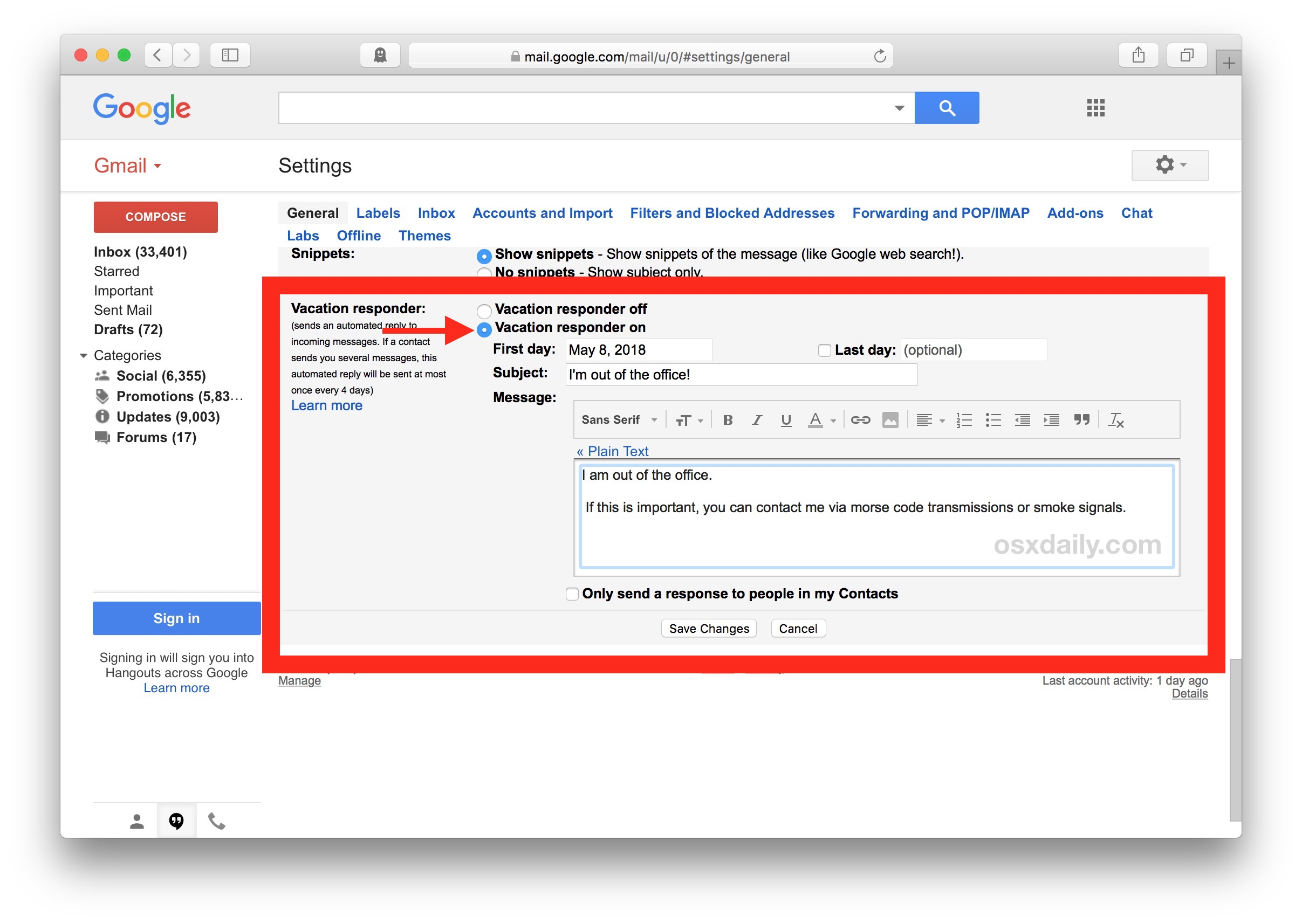 How to set an automatic vacation responder Out Of Office reply email in Gmail