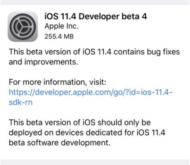 iOS 11.4 beta 4