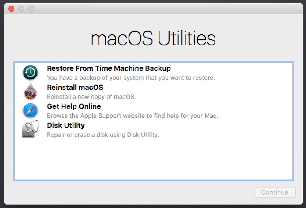 MacOS Utilities in Recovery Mode