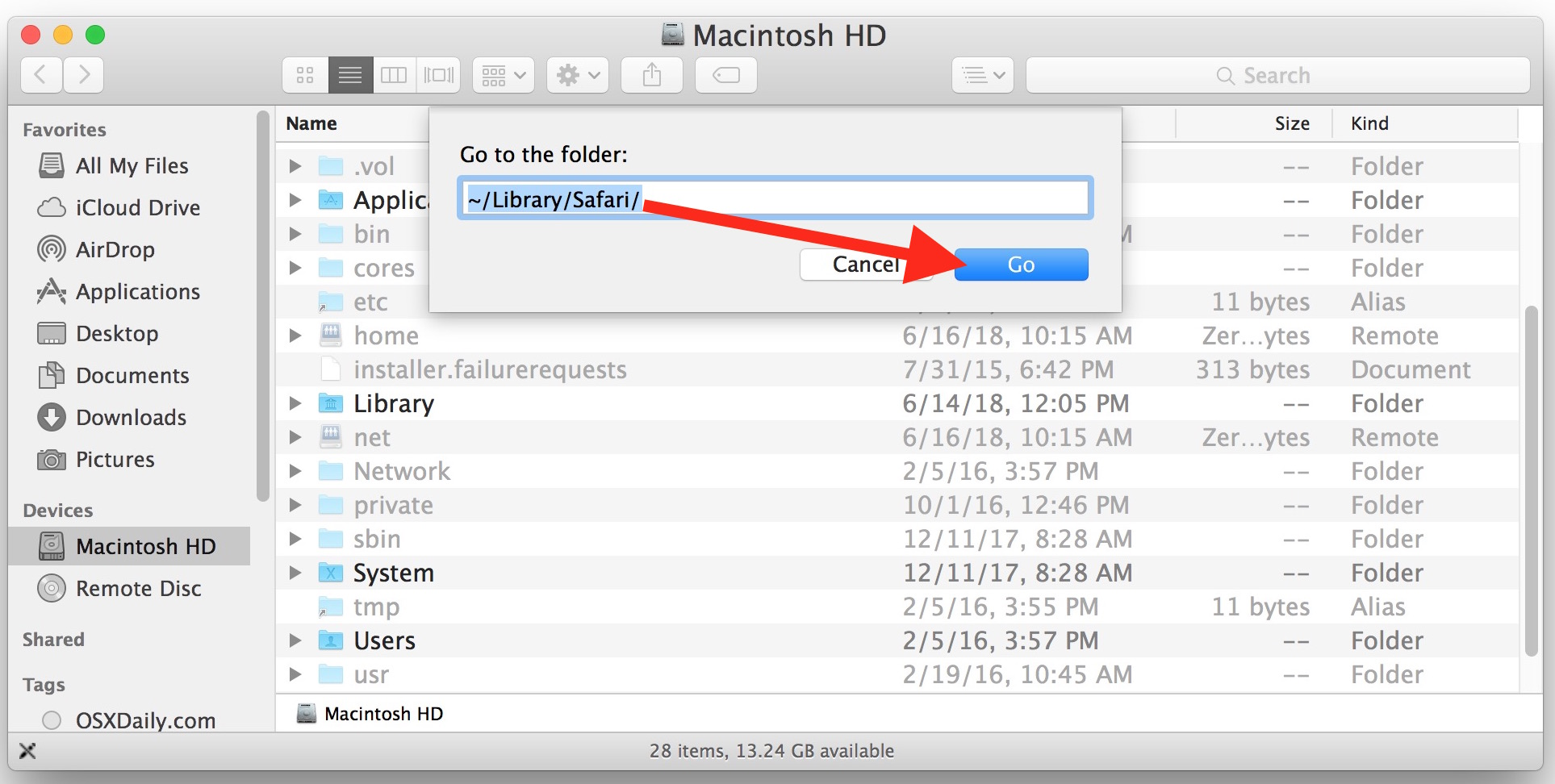 Go to Folder to the Safari data location on Mac