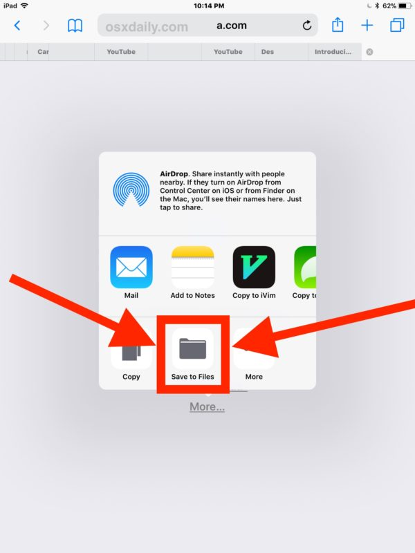 How to save a zip file on iPad