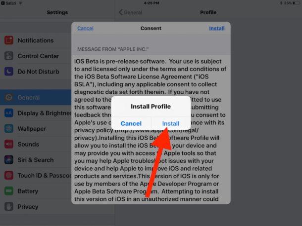 install iOS 12 public beta profile