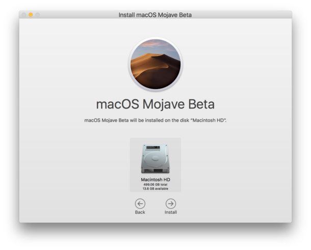 Choose where to install macOS Mojave public beta