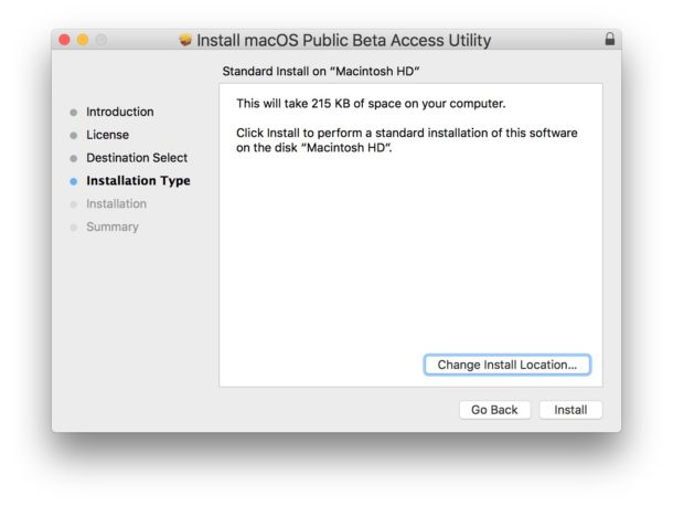 Install the MacOS Mojave beta access tool