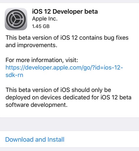 iOS 12 beta 1 download