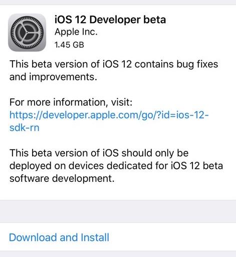 iOS 12 beta 1 download