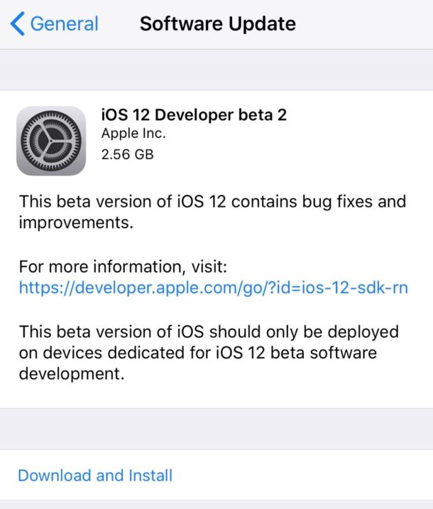 iOS 12 beta 2 download