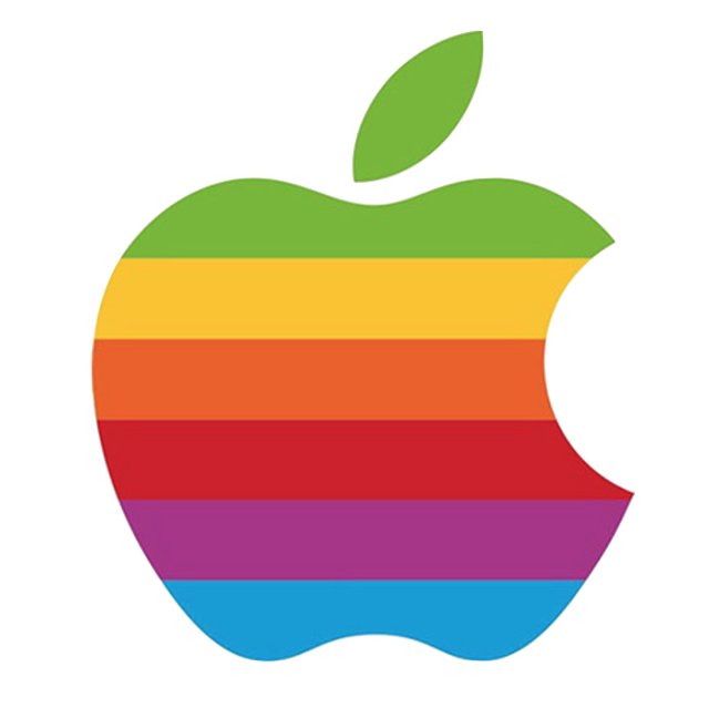 Old original Apple logo retro rainbow