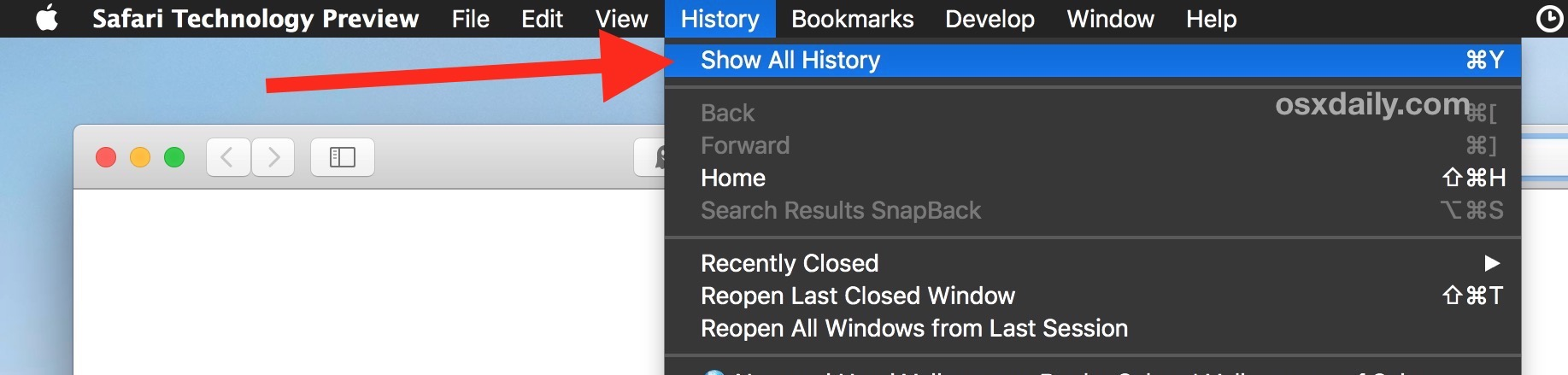 How to show all browsing history in Safari on Mac