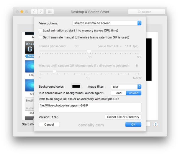 Use an animated GIF as screen saver on Mac