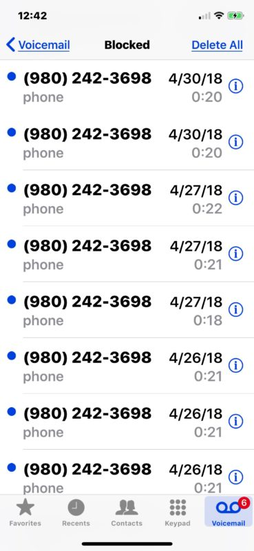 How to Check Voicemail from Blocked Numbers on iPhone | OSXDaily