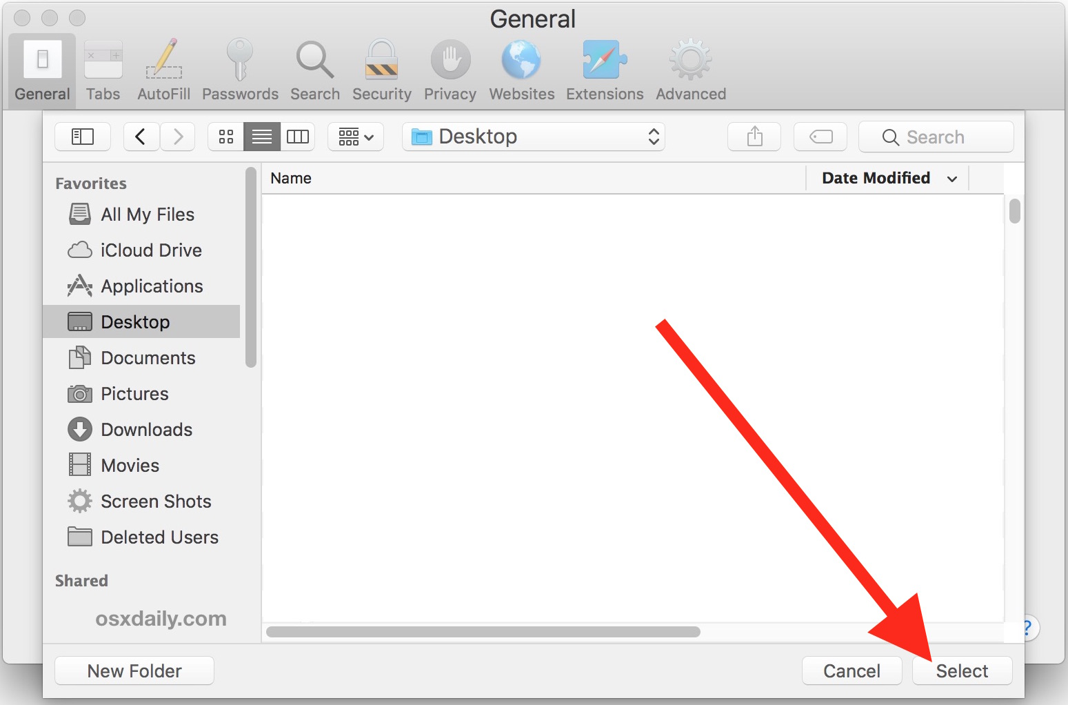 Where to Change Safari Downloads Folder on Mac