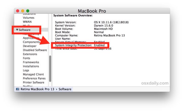 How to check SIP System Integrity Protection status from System Information on Mac