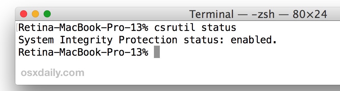 How to check SIP status from command line on Mac