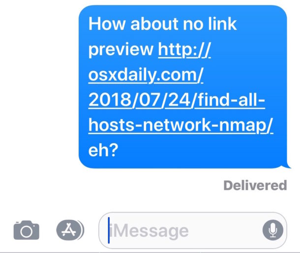 A link placed within a sentence will not show the URL preview in Messages