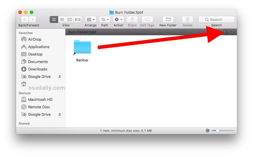 How to burn a CD or DVD of data or files on a Mac through Burn Folder
