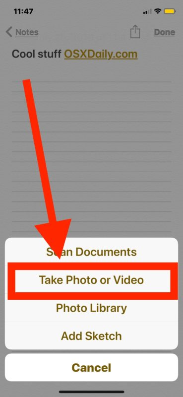How to take photos or videos directly in Notes app for iOS