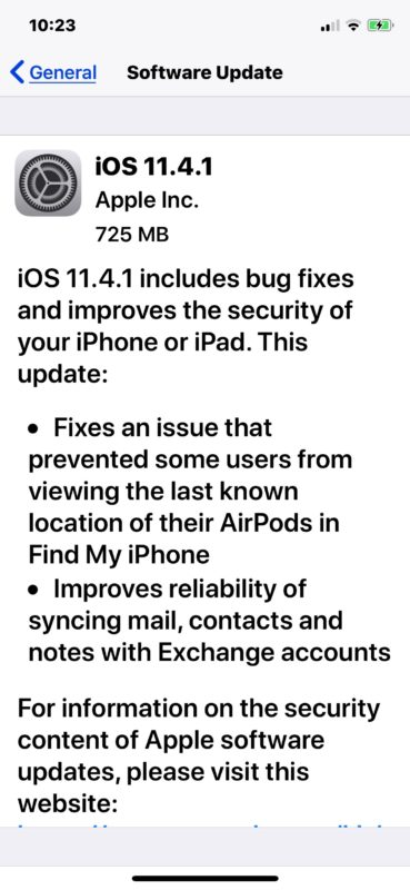 iOS 11.4.1 download and update