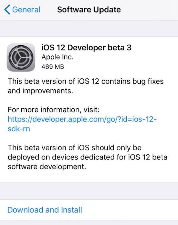 iOS 12 beta 3 download