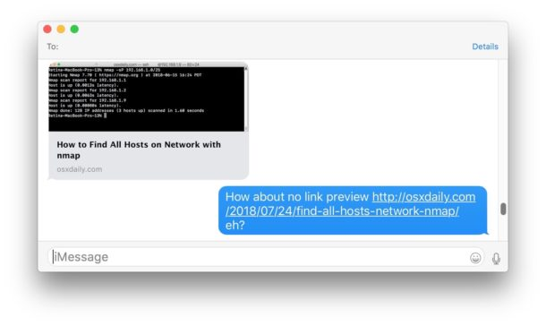 Link previews disabled on Messages shown in Mac