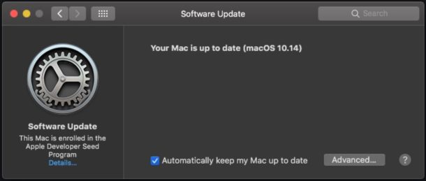 MacOS Mojave software update in System Preferences
