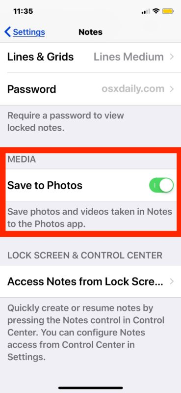 How to Save to Photos all media captured in the Notes app of iOS