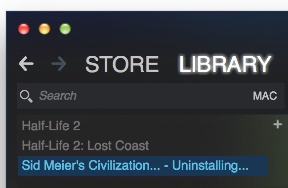 Uninstalling game message in Steam