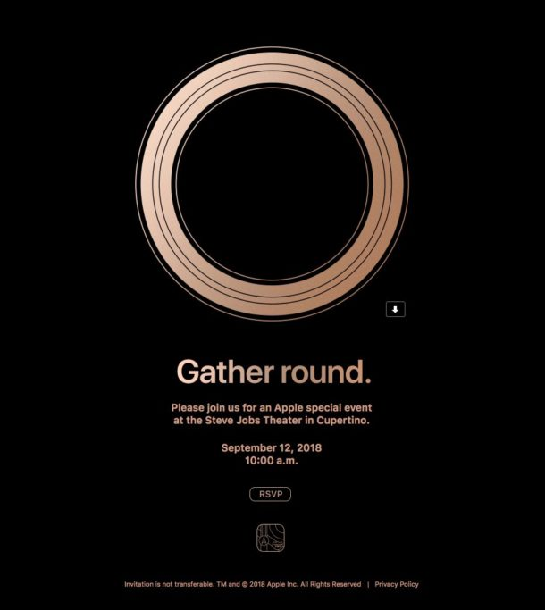Apple 2018 September 12 event invitation