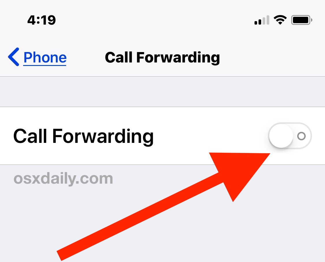 Toggle for disabling or enabling Call Forwarding on iPhone