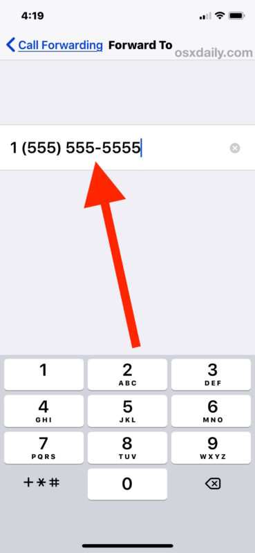 Enable call forwarding on iPhone by setting forward number