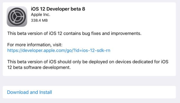 iOS 12 beta 8 download