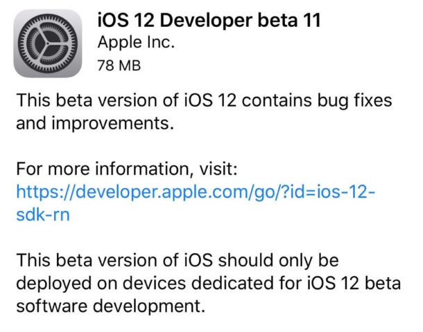 iOS 12 developer beta 11