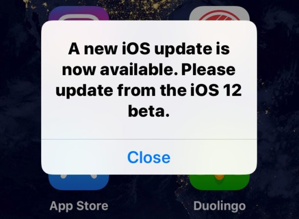 New iOS update now available alert from iOS 12 beta