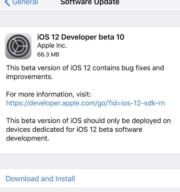 iOS 12 developer beta 10 available to download