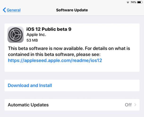 iOS 12 public beta 9