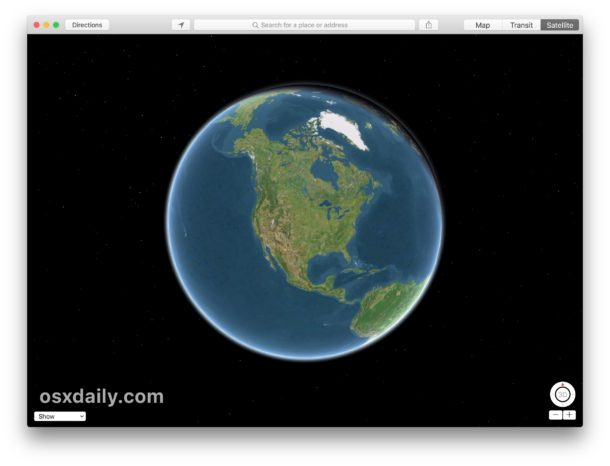 Globe view in Maps for Mac