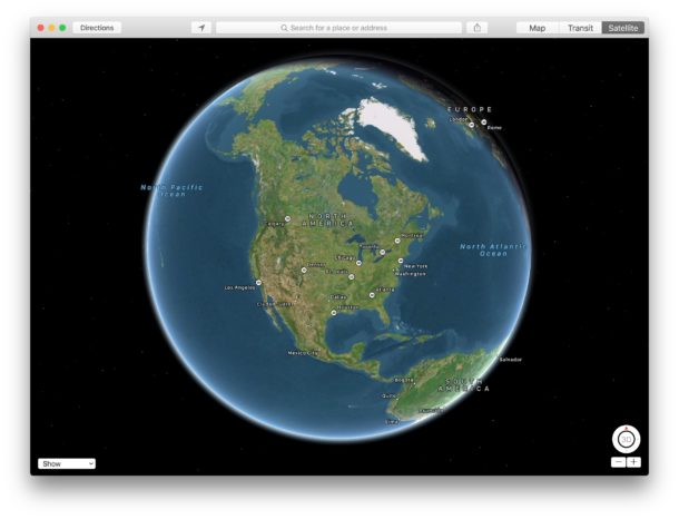 How to access Globe view on Maps for Mac