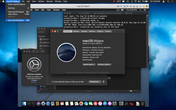 How to quit out of macOS Mojave virtual machine